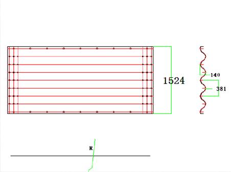 Corrugation 380mm x 140mm