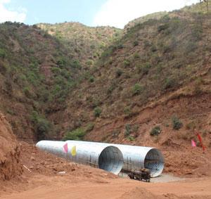Diameter 4meter corrugated steel pipe in PanZhiHua