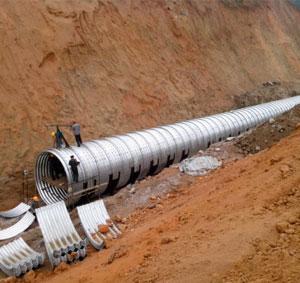 Corrugated metal pipe diameter 3 meters in double Guang express way