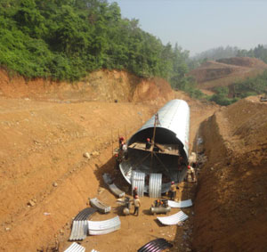 Structre plate diameter 6 meters, culvert length 130 meters,  MeiDa Express way