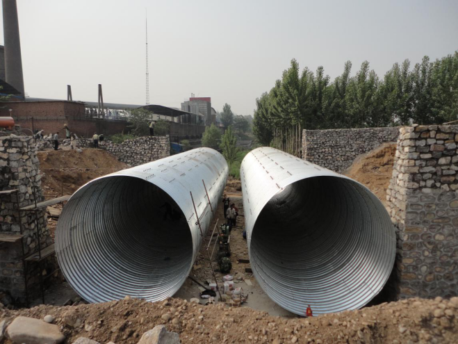 Galvanized corrugated metal pipe