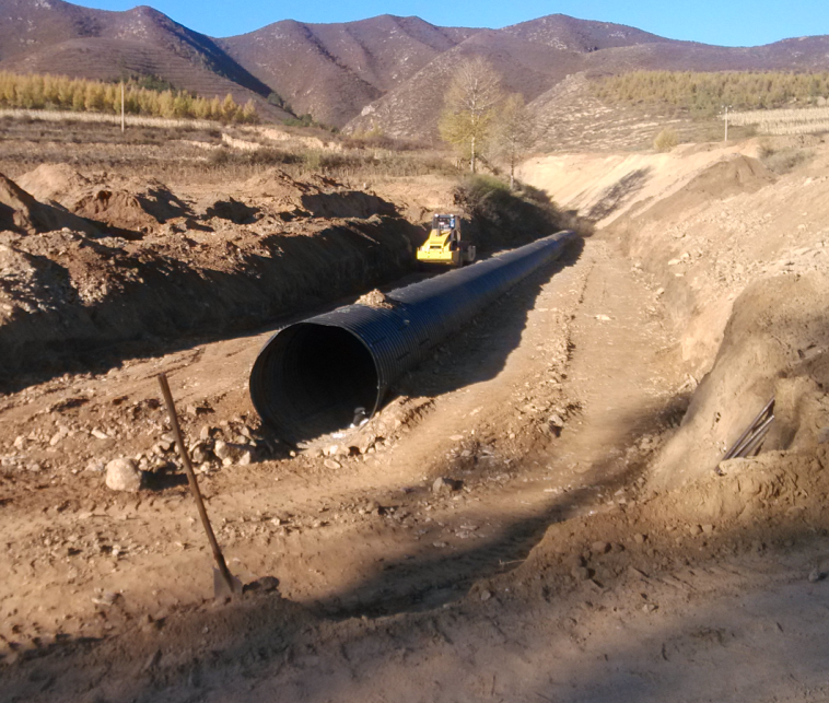 Corrugated steel drainage culvert